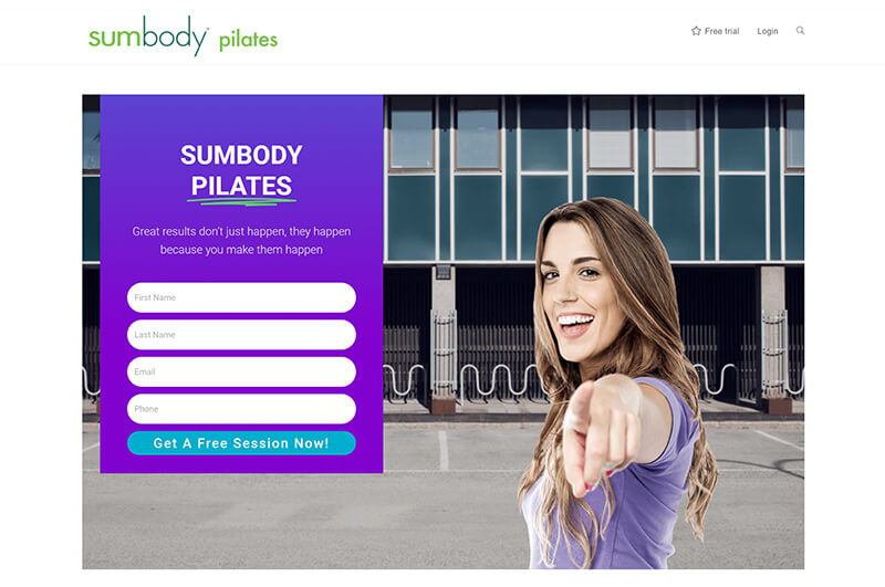 Landing page as part of sales funnel for Sumbody Studios